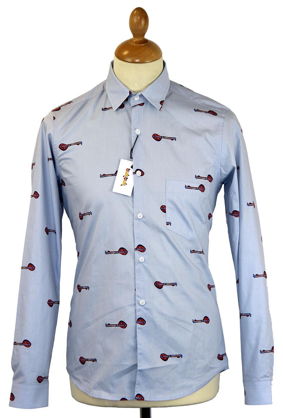 Sitar Print TUKTUK Retro 60s Mod L/S Music Shirt