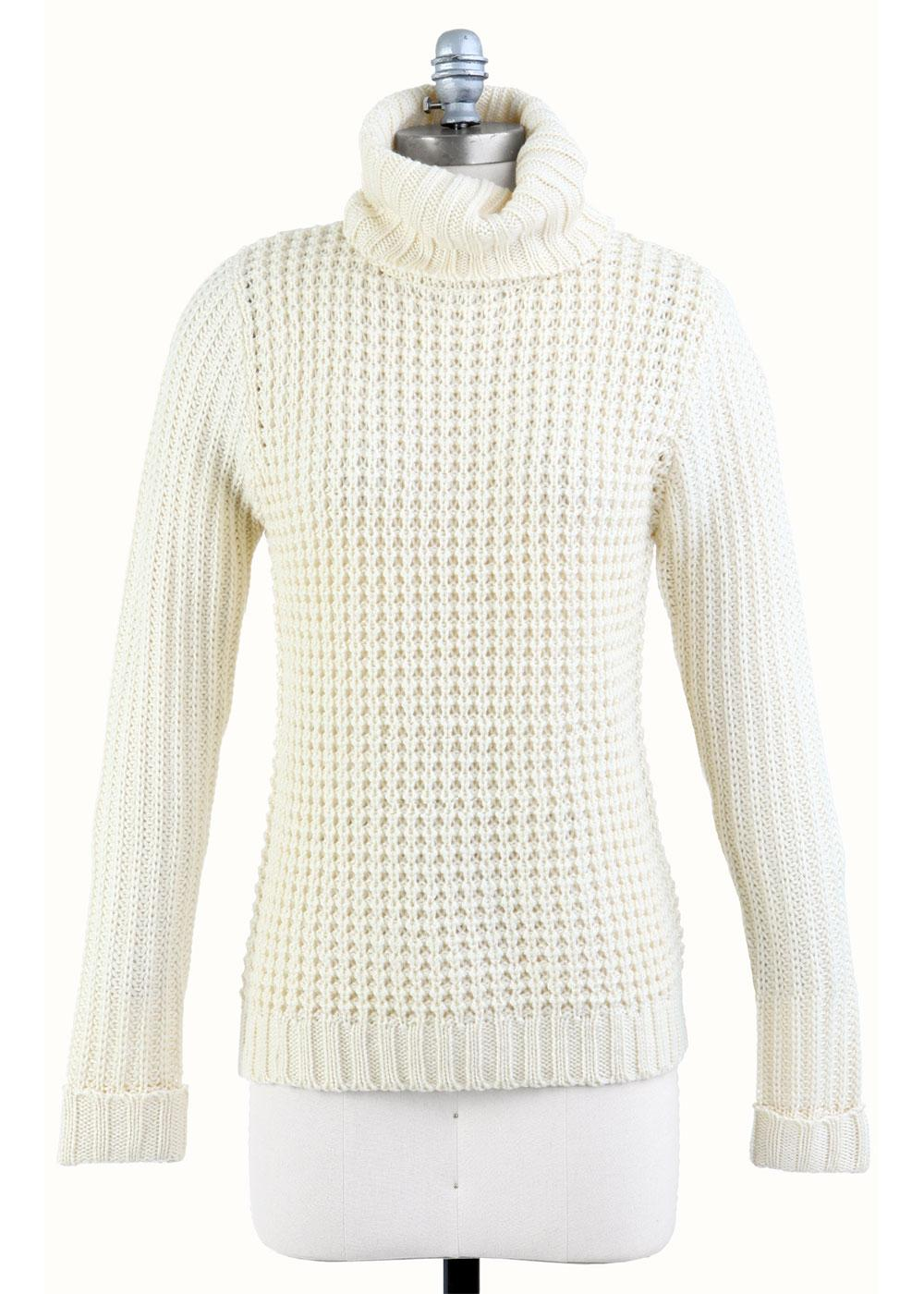 TULLE Women's Retro 60s Chunky Roll Neck Jumper C