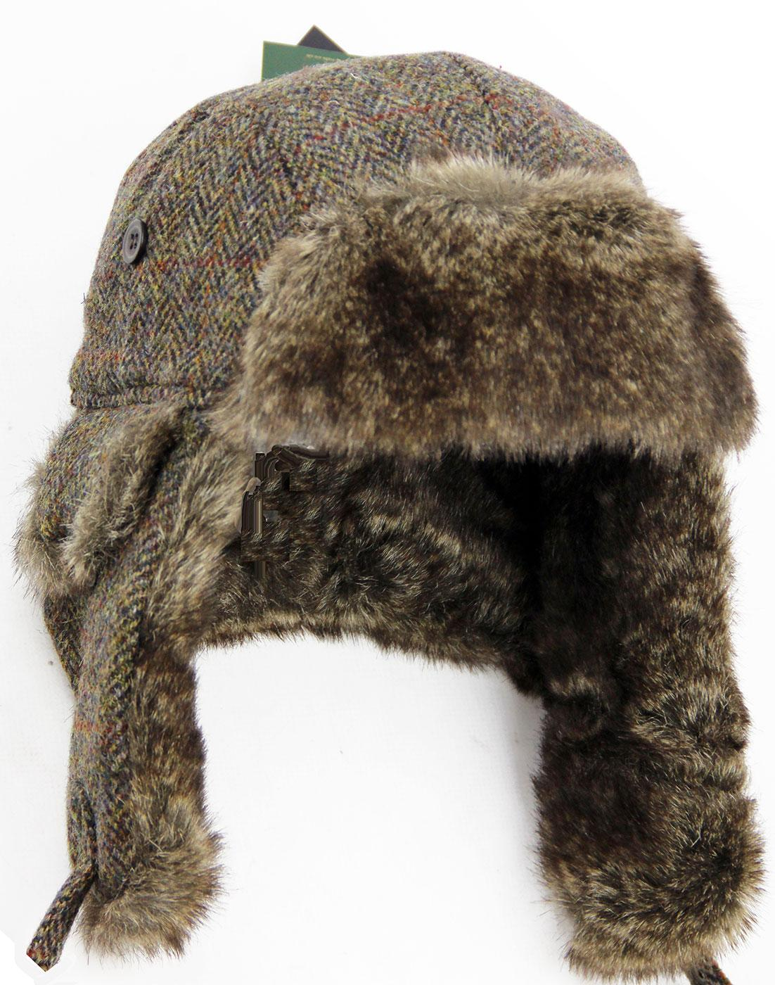 148d94aea7d Harris Tweed Retro 60s Herringbone Faux Fur Trapper Hat