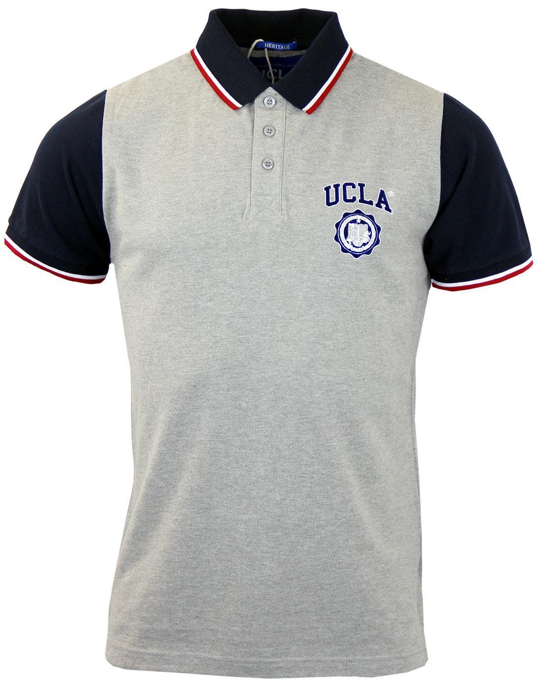 Galt UCLA Retro Contrast Collar Pique Polo Top (G)