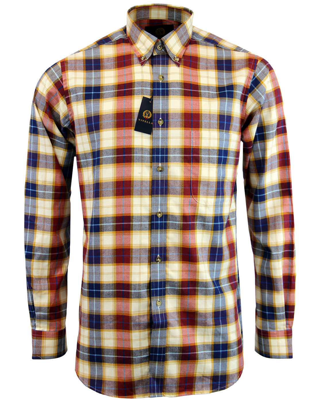 VIYELLA 60s Mod Button Down Gold Plaid Check Shirt