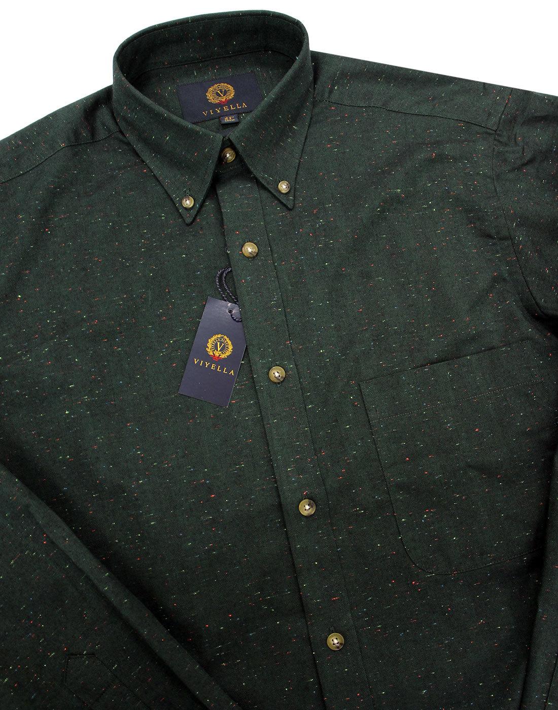 Ongebruikt VIYELLA Retro Mod Button Down Herringbone Donegal Nep Shirt Green ES-97