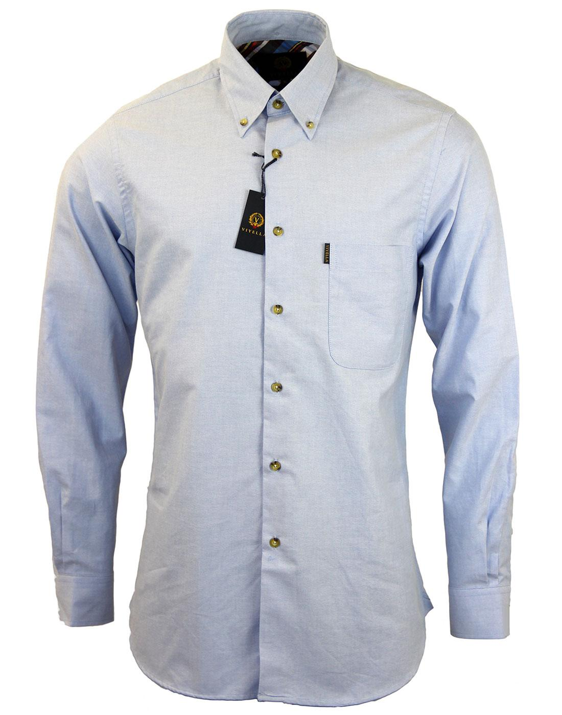 VIYELLA Retro Mod Button Down Oxford Shirt BLUE