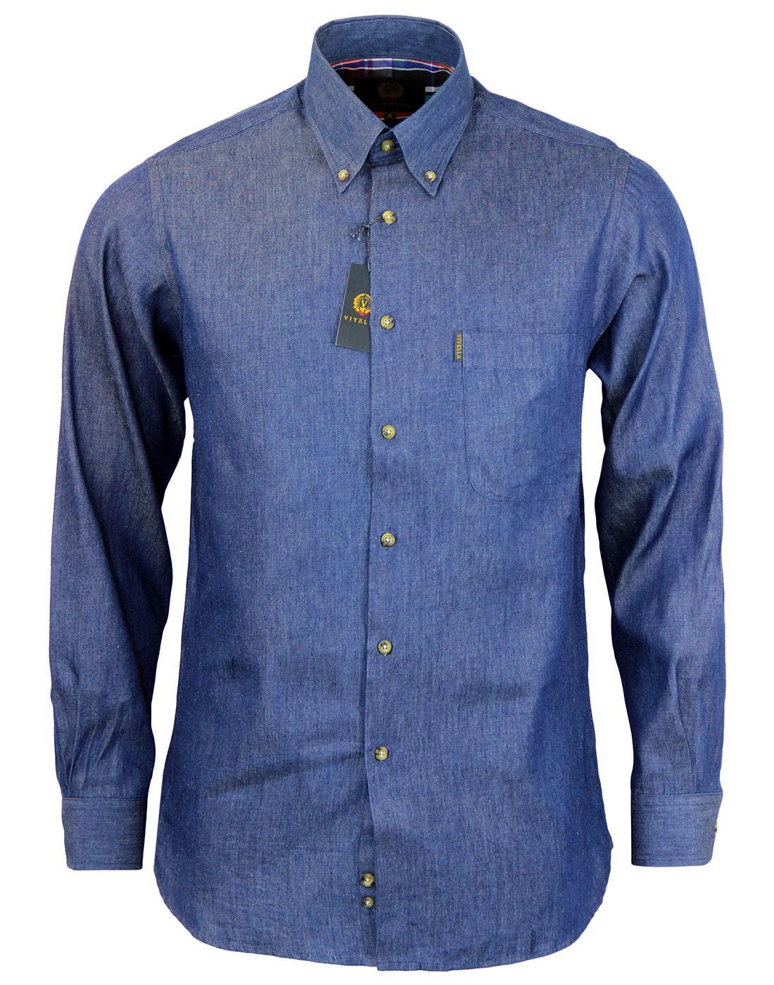 VIYELLA Retro Mod Classic Denim Button Down Shirt