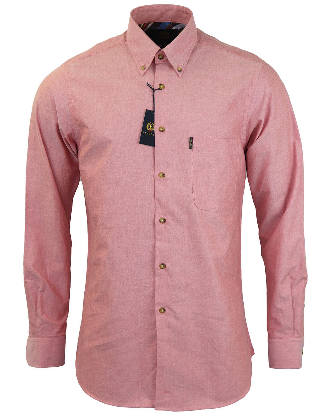 VIYELLA Retro Mod Button Down Oxford Shirt RED