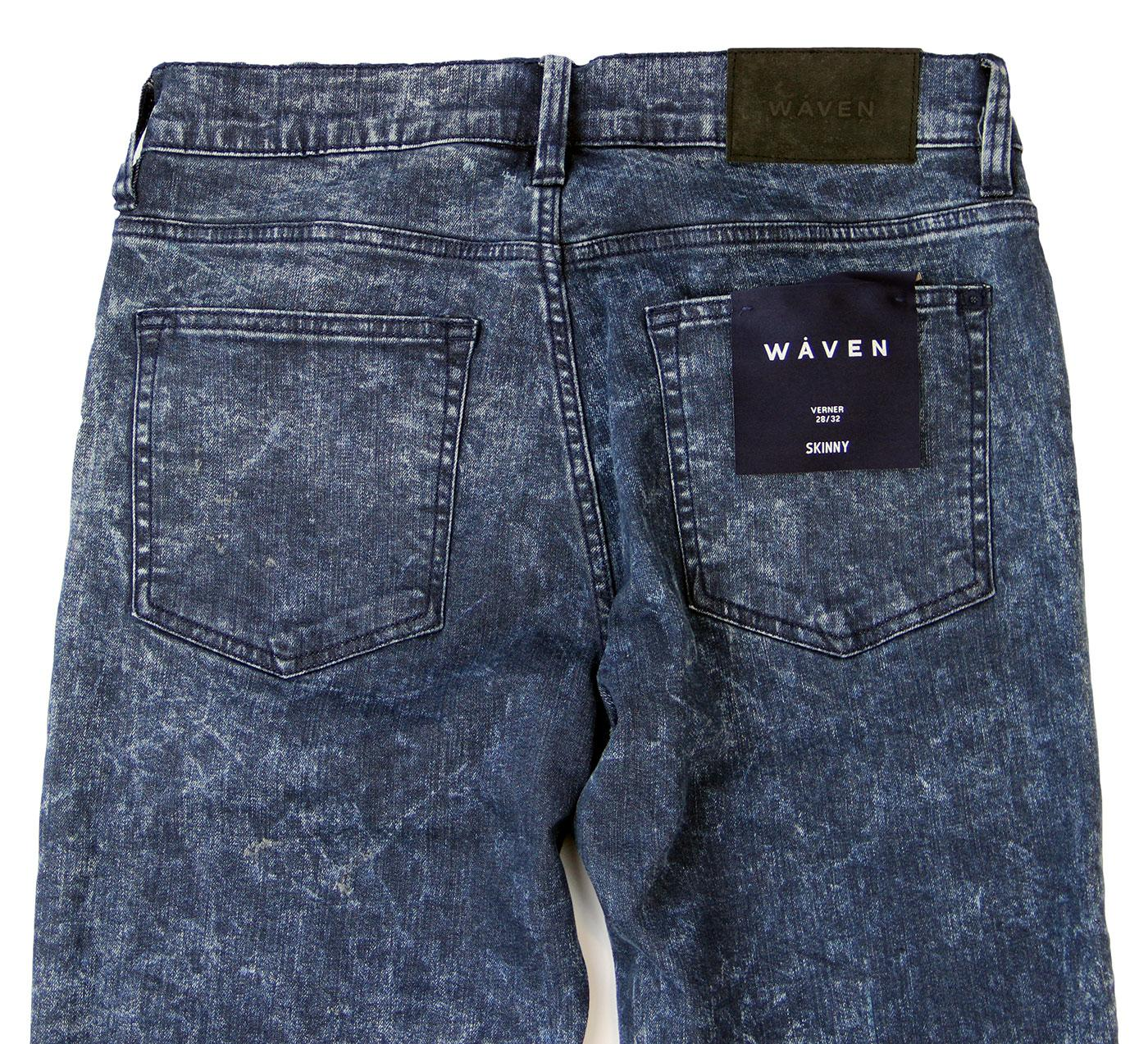 0375c832 WAVEN Verner Retro Indie 70s Skinny Denim Jeans Acid Wash Blue