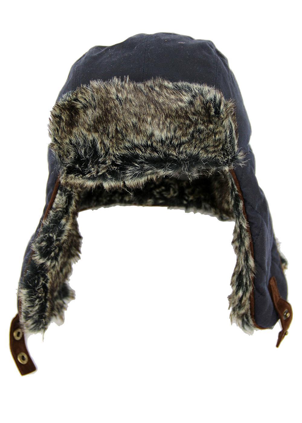 FAILSWORTH Retro Check Lined Wax Trapper Hat NAVY