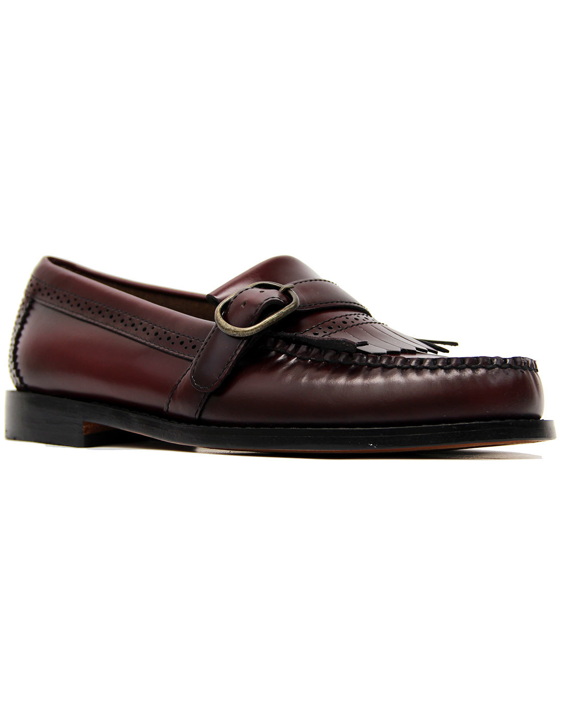 Langley BASS WEEJUNS 60s Mod Buckle Loafers WINE