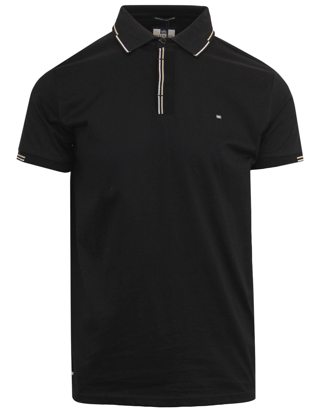 Cage WEEKEND OFFENDER Retro Mod Tipped Polo BLACK
