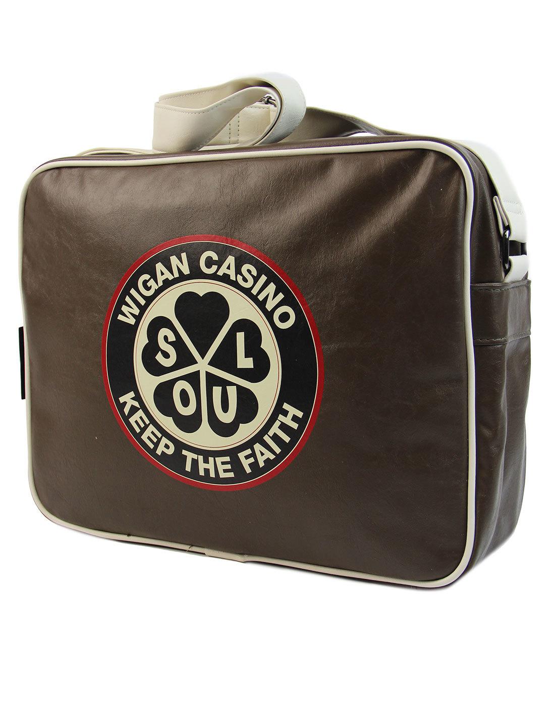 WIGAN CASINO Northern Soul Shoulder Bag BROWN