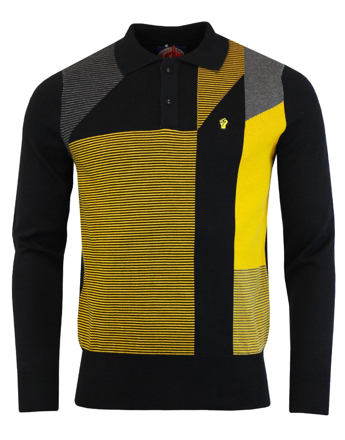 WIGAN CASINO Mod Geometric Stripe Panel Knit Polo