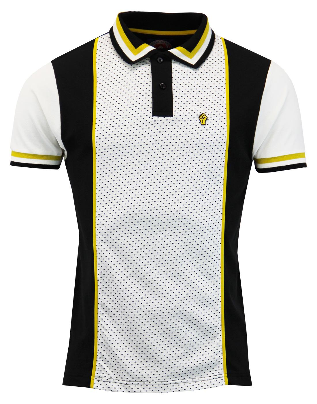 WIGAN CASINO Op Art Collar Jacquard Panel Polo Top