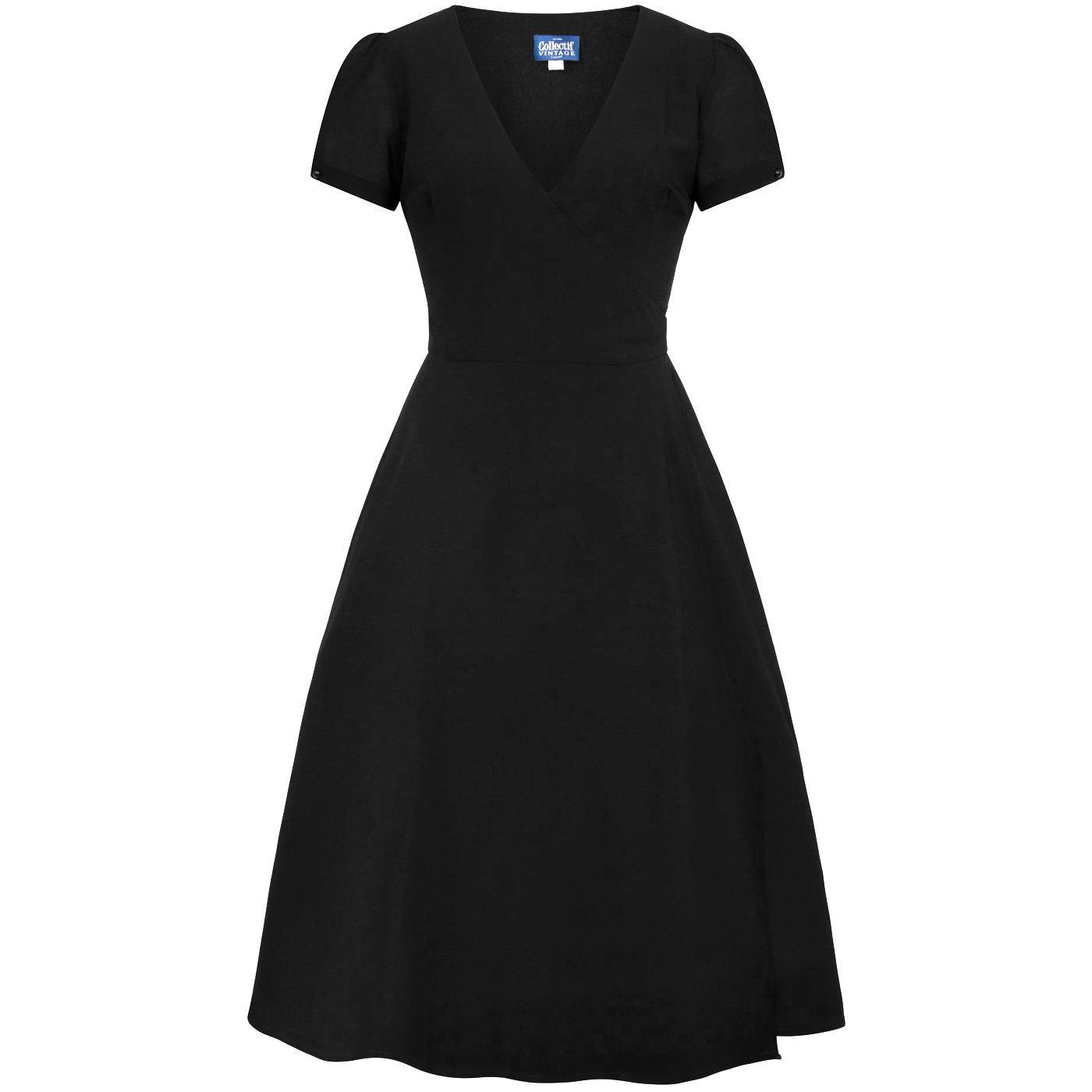 Wilhelmina COLLECTIF Retro 50s Plain Wrap Dress