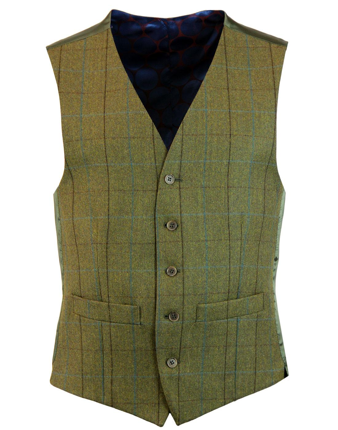 Retro Mod Windowpane Check Country Waistcoat GREEN