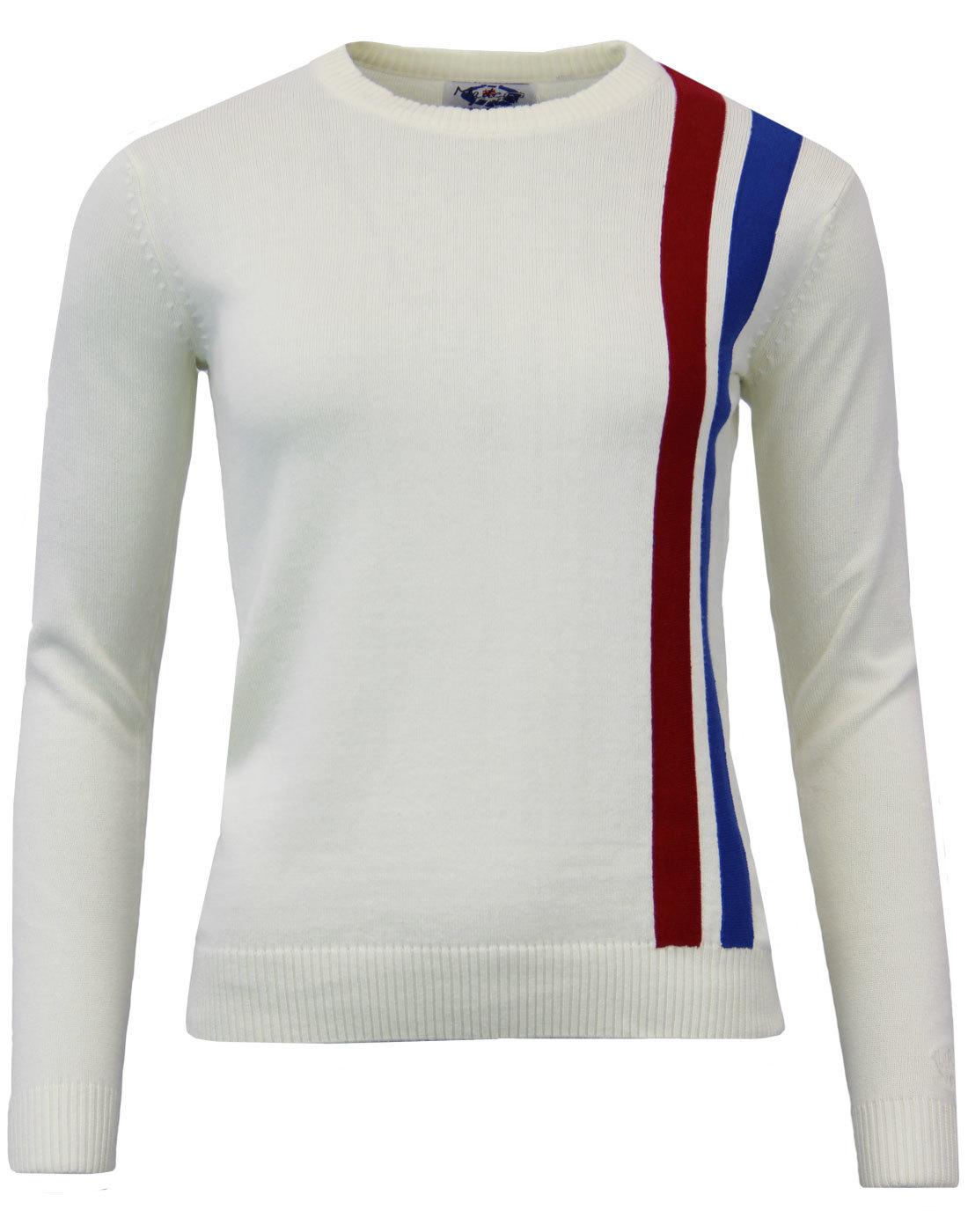 madcap england womens 60s mod racing jumper white
