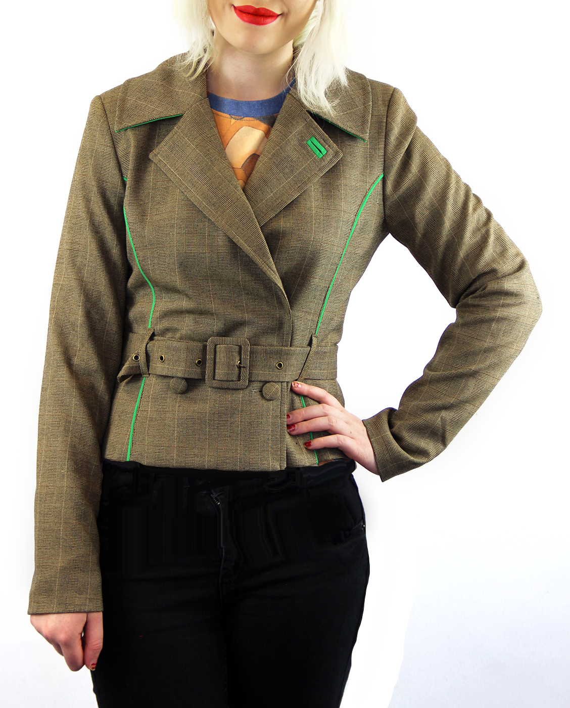 Isa WOW TO GO Retro 70s Mod Belt Fasten Blazer