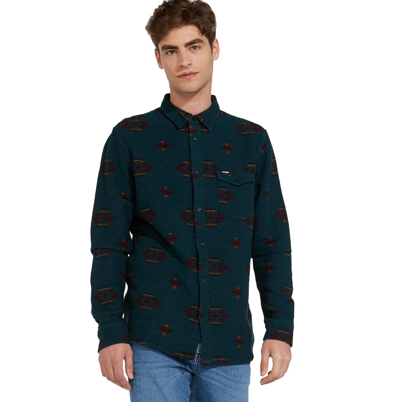 WRANGLER Mens Seventies Retro Print 1 Pocket Shirt
