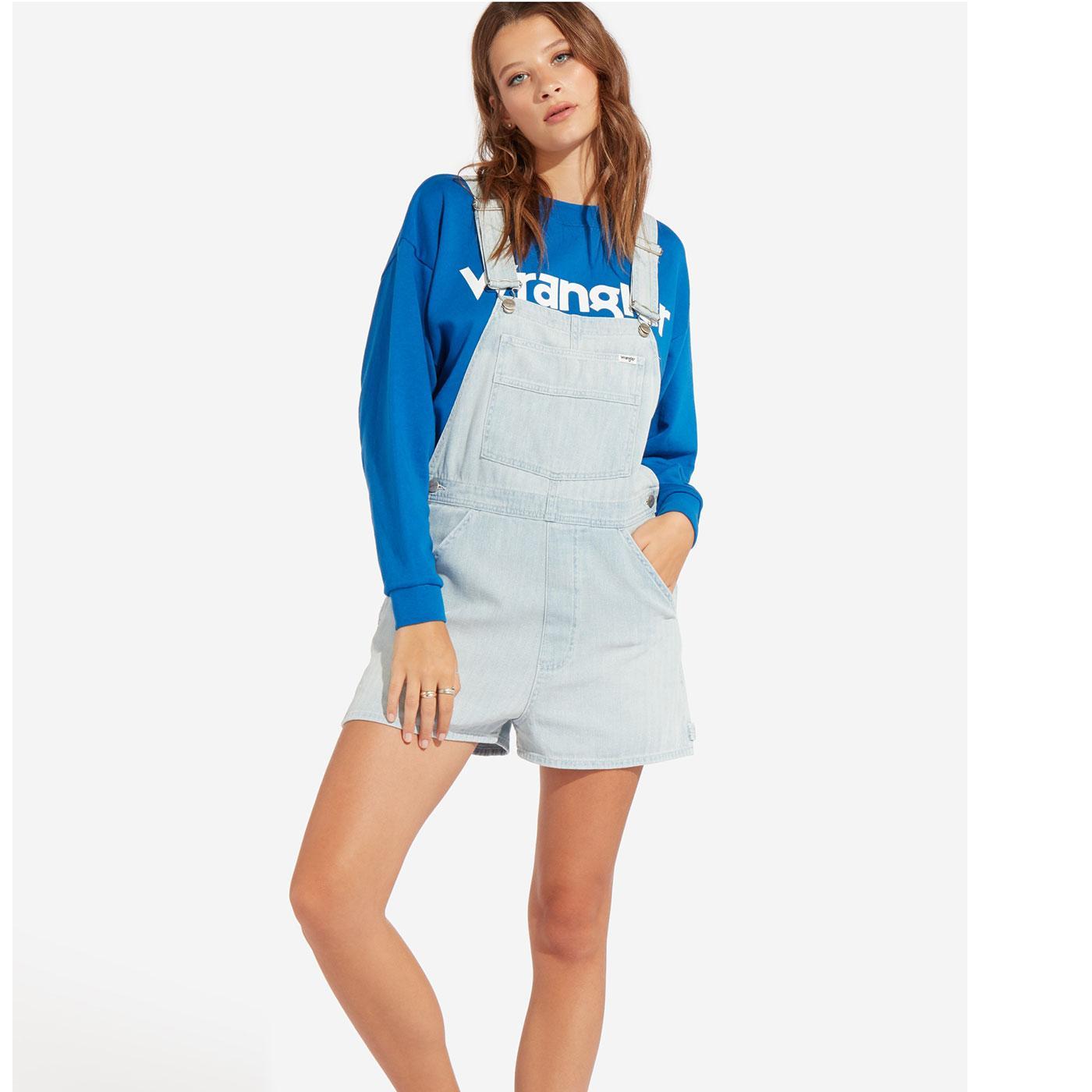 WRANGLER Womens Retro Herringbone Denim Bib Shorts