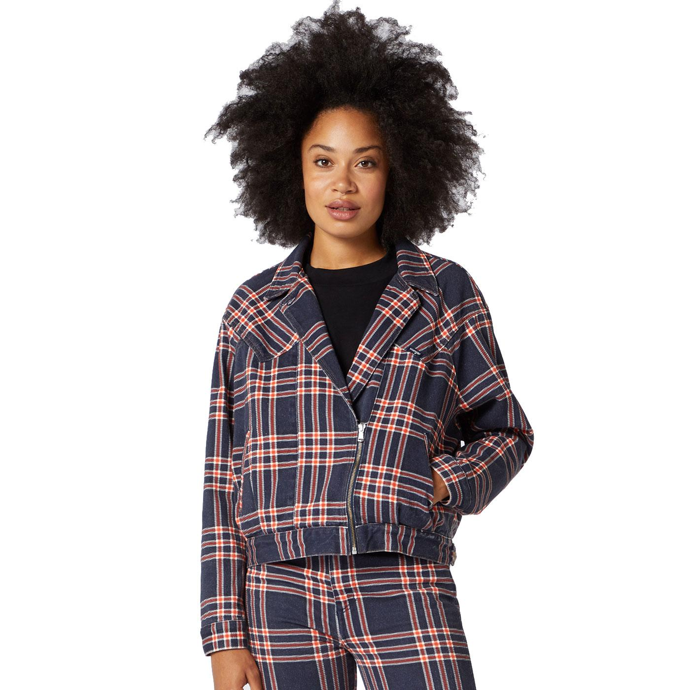 WRANGLER Women's Retro 80s Plaid Denim Jacket