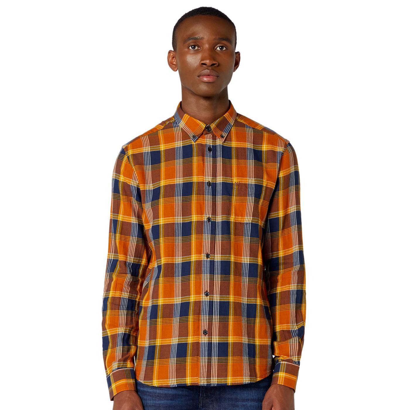 WRANGLER One Pocket Long Sleeve Plaid Shirt Nutmeg