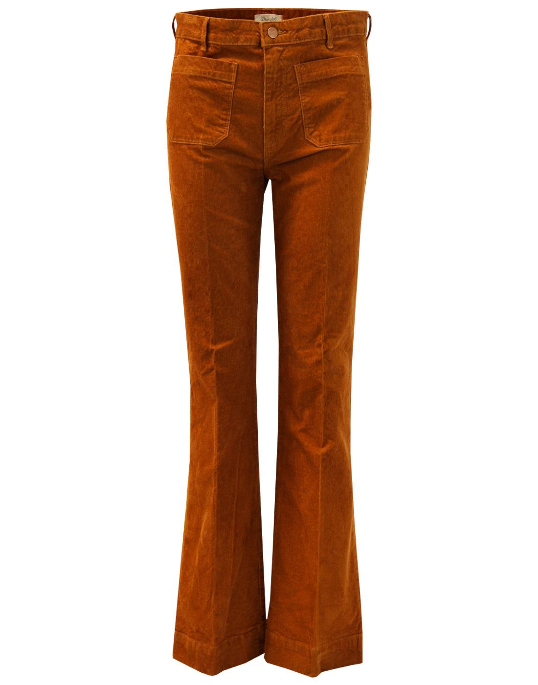 44ee9031 WRANGLER Retro 70s Vintage Stretch Cord Flared Trousers Copper