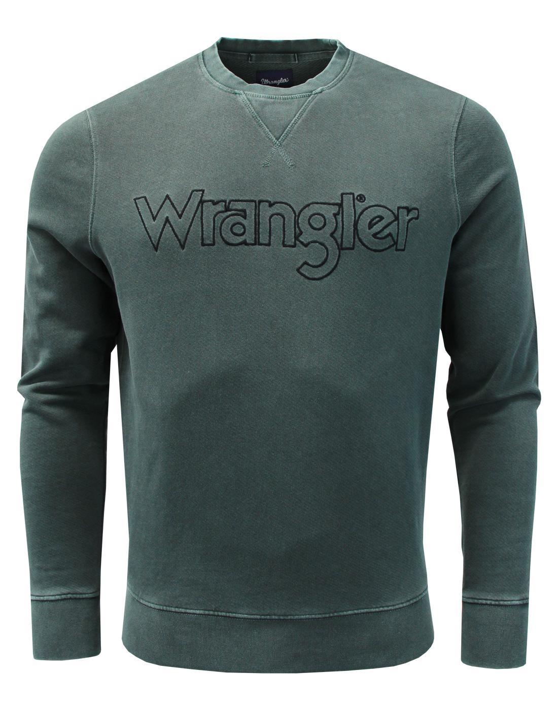 WRANGLER Retro 70s Authentic Crew Sweatshirt GREEN