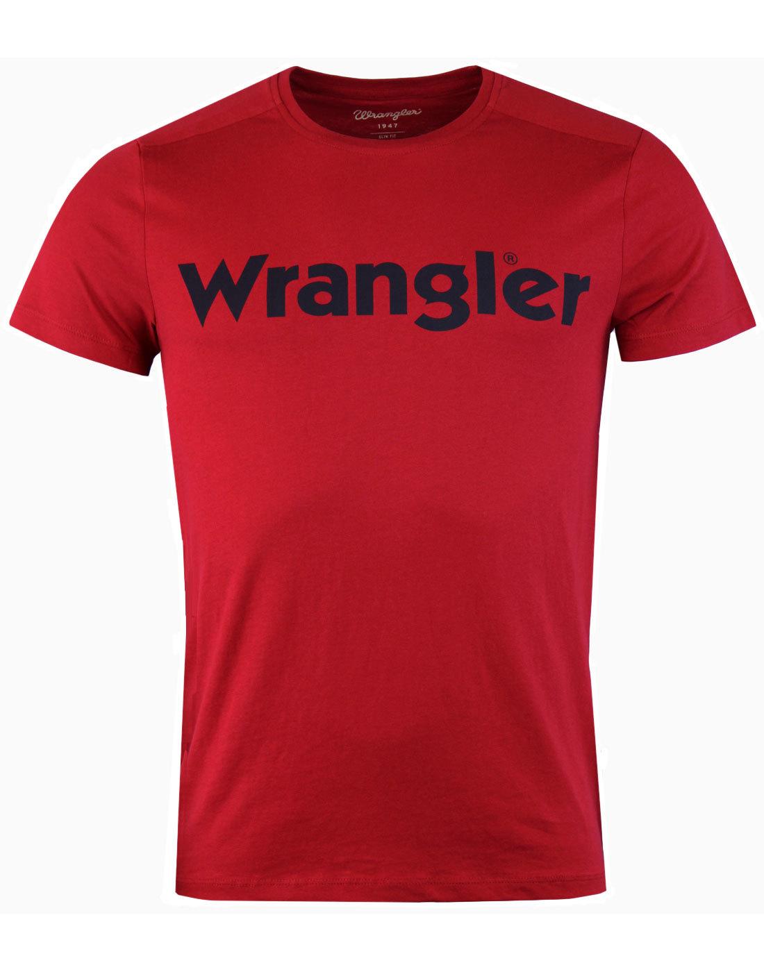 WRANGLER Retro 70s Classic Logo Crew T-Shirt RED