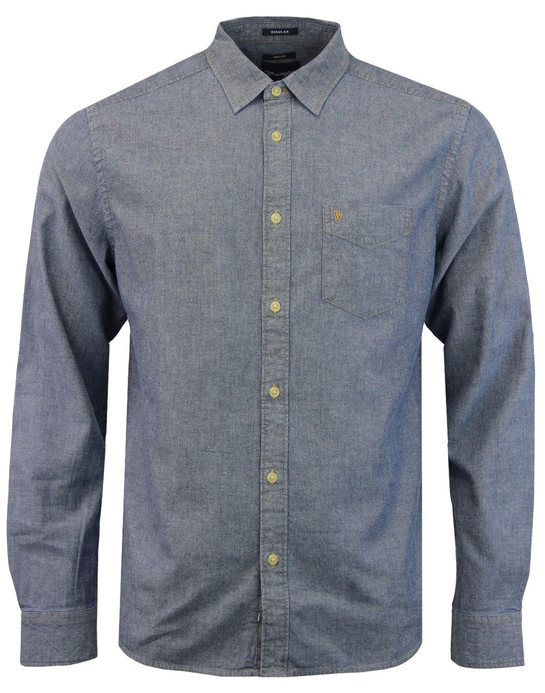 WRANGLER Retro Button Down 1 Pocket Shirt Indigo