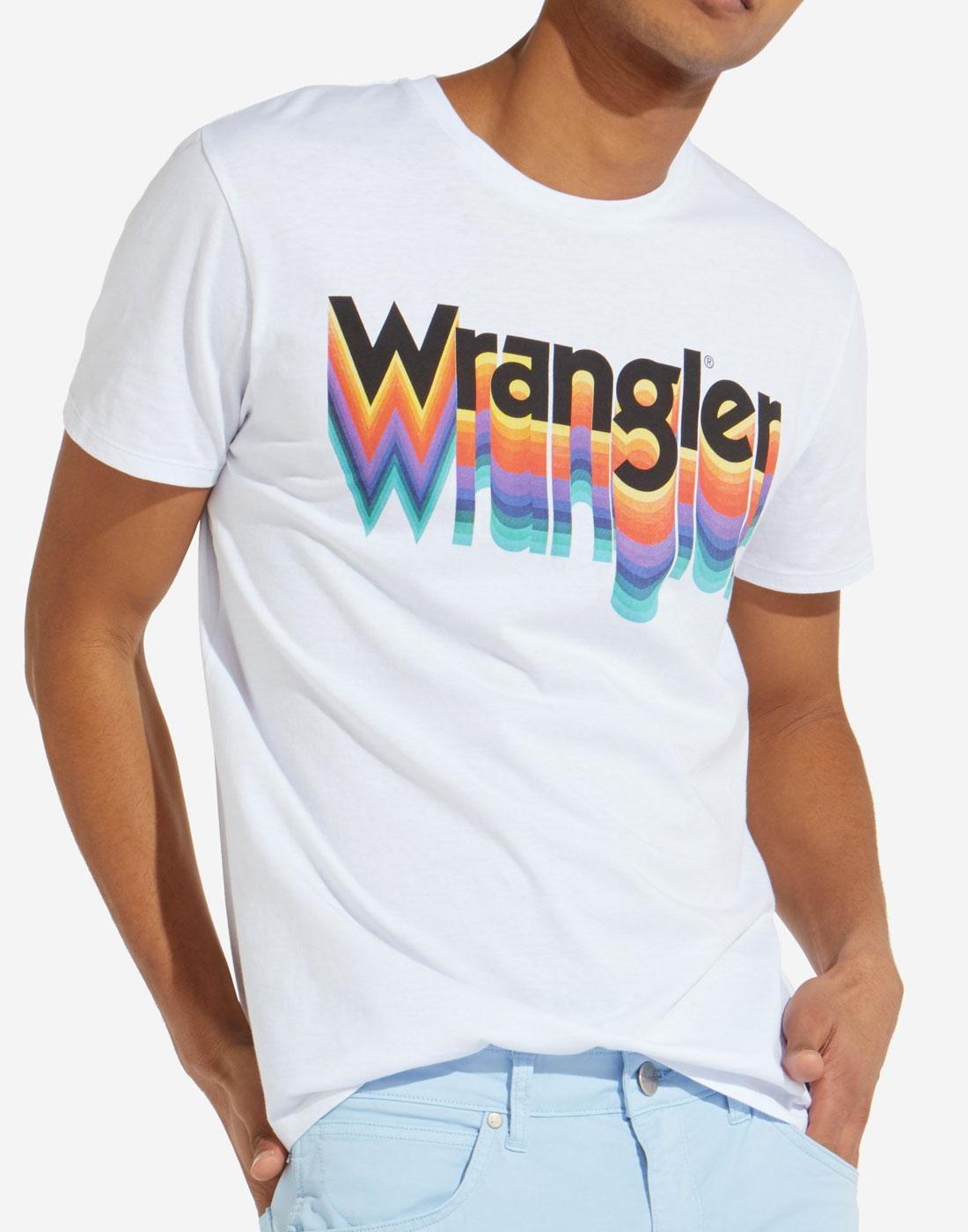 WRANGLER Men's Retro 1970s Rainbow Logo Tee WHITE