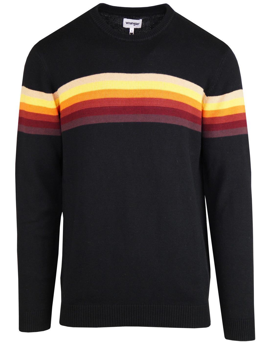 WRANGLER Retro 1970s Rainbow Stripe Knitted Jumper