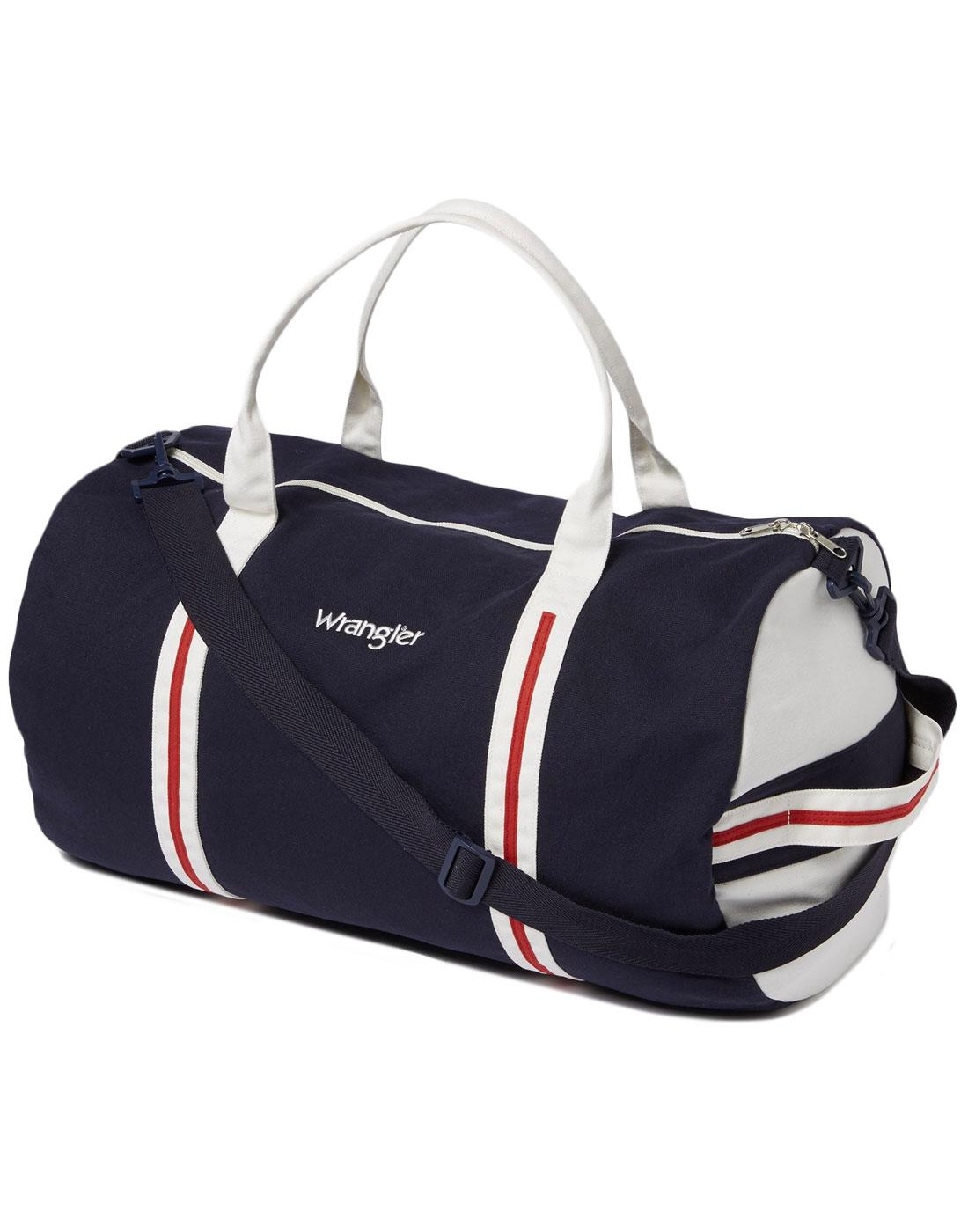 WRANGLER Retro 1970s Canvas Duffel Barrel Bag