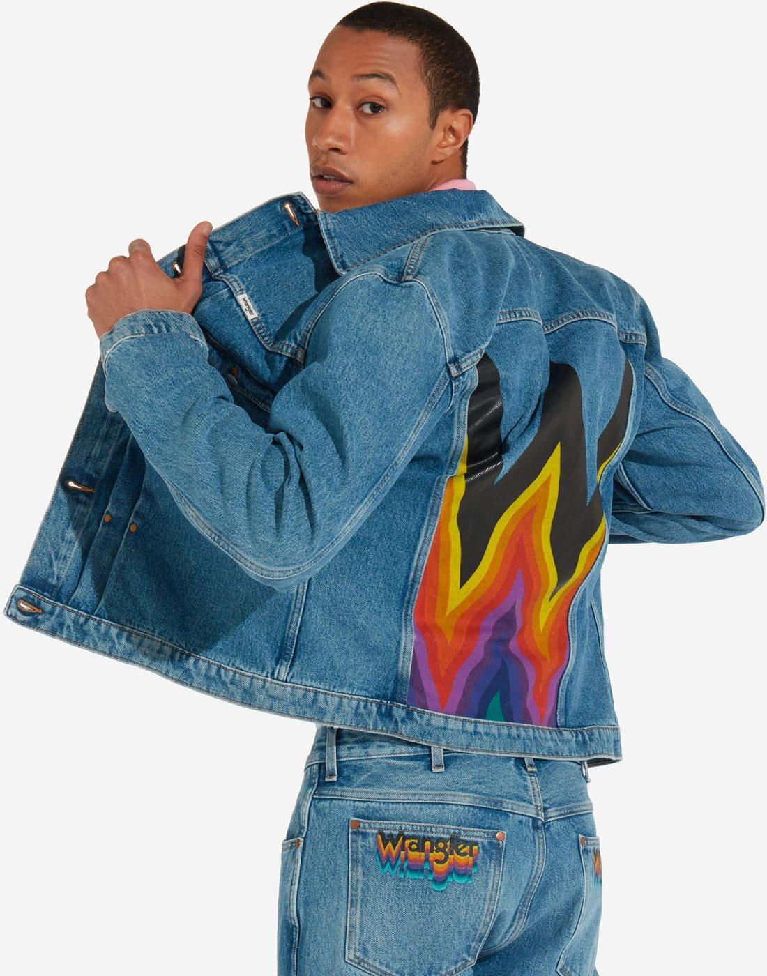 WRANGLER 80s Archive Back Print Denim Retro Jacket