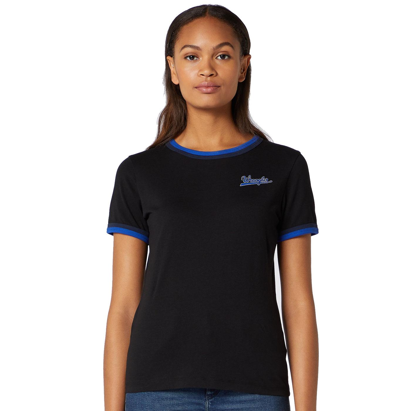 WRANGLER Women's Retro Double Ringer T-Shirt Black