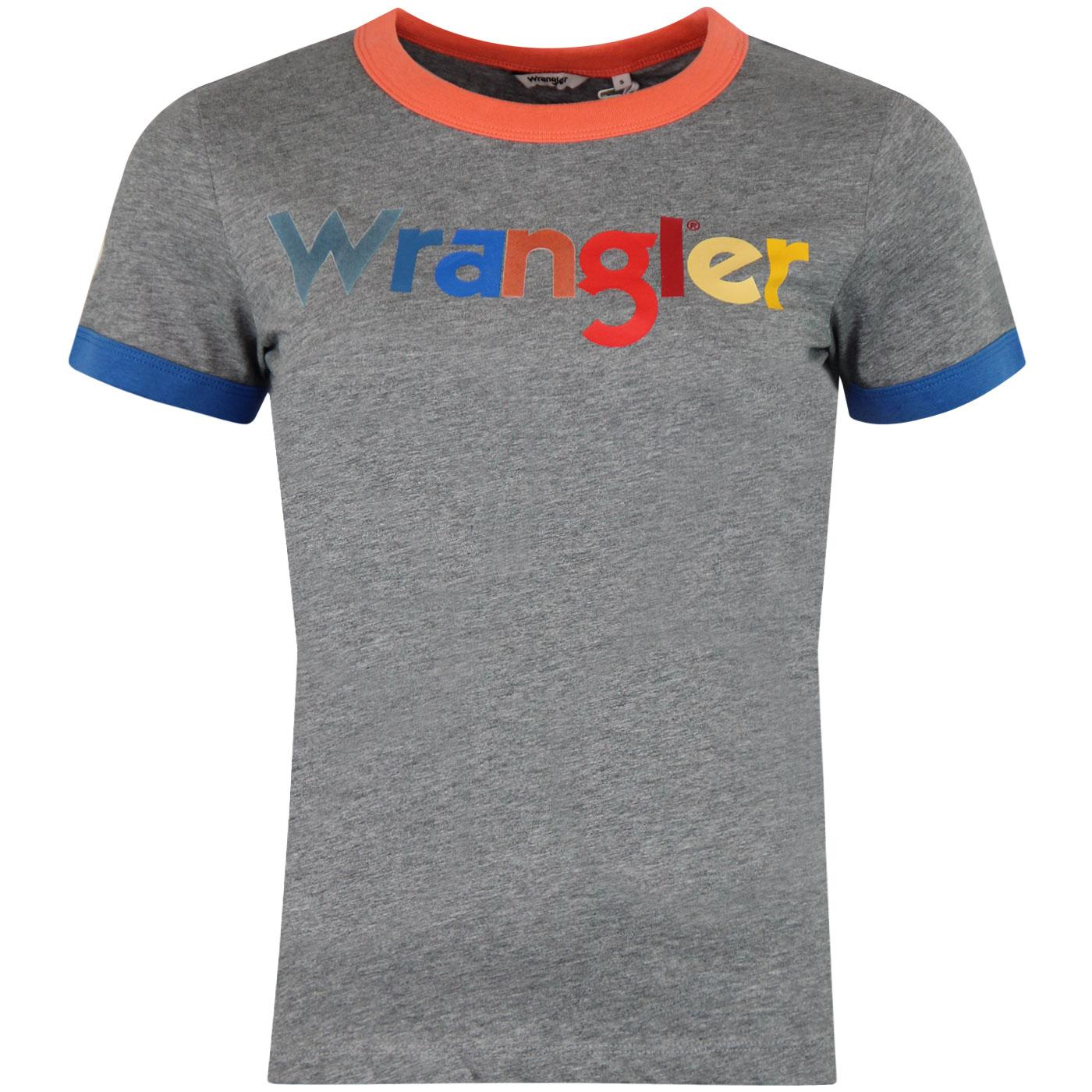 WRANGLER Women's Multicoloured Logo Ringer Tee