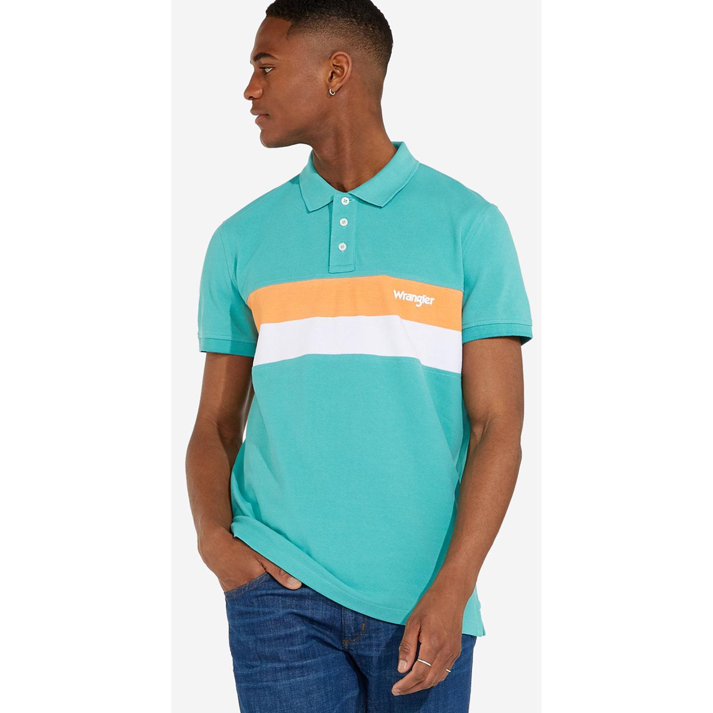 WRANGLER Men's Mod Chest Stripe Pique Polo Shirt