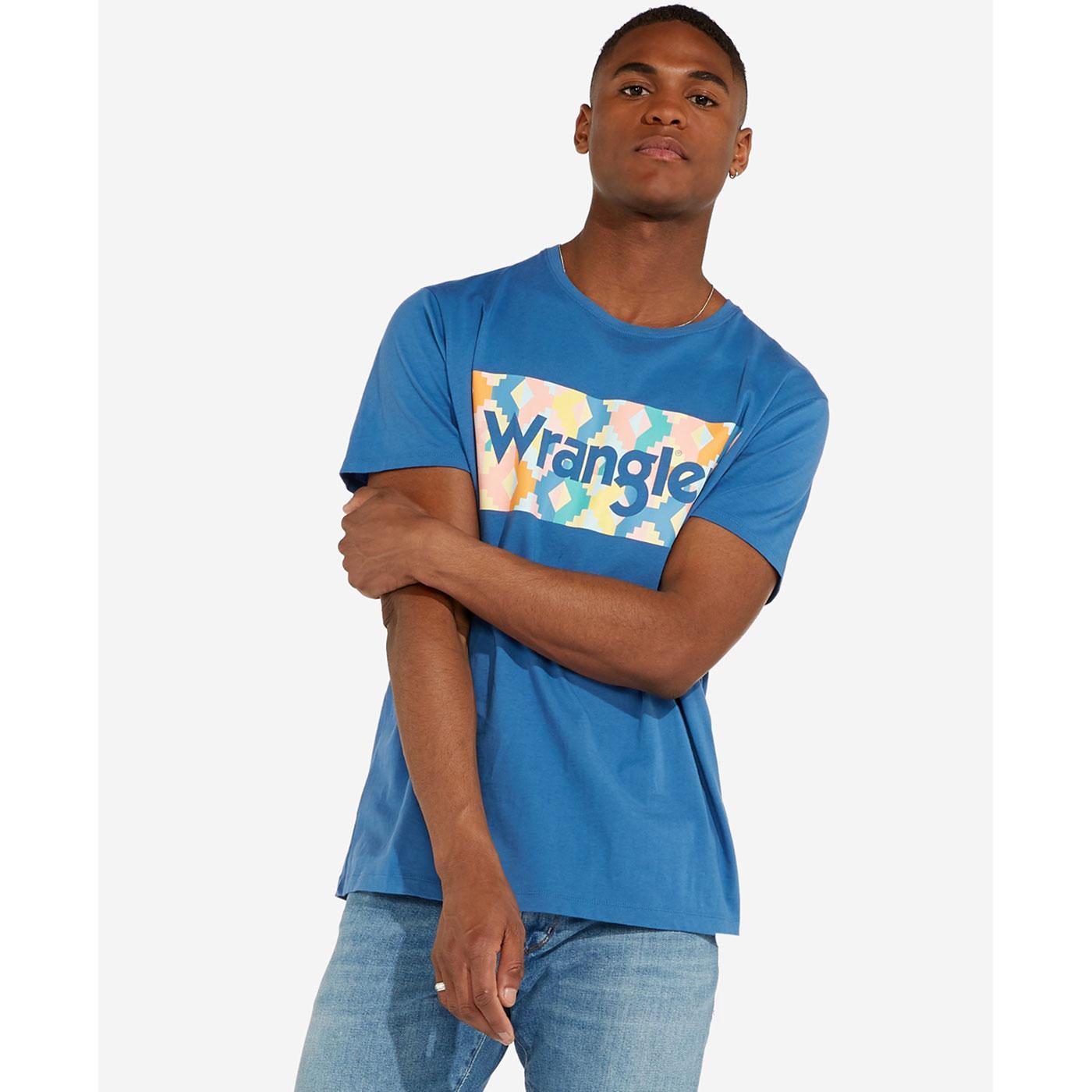 WRANGLER Retro Abstract Mosaic Summer Logo T-Shirt
