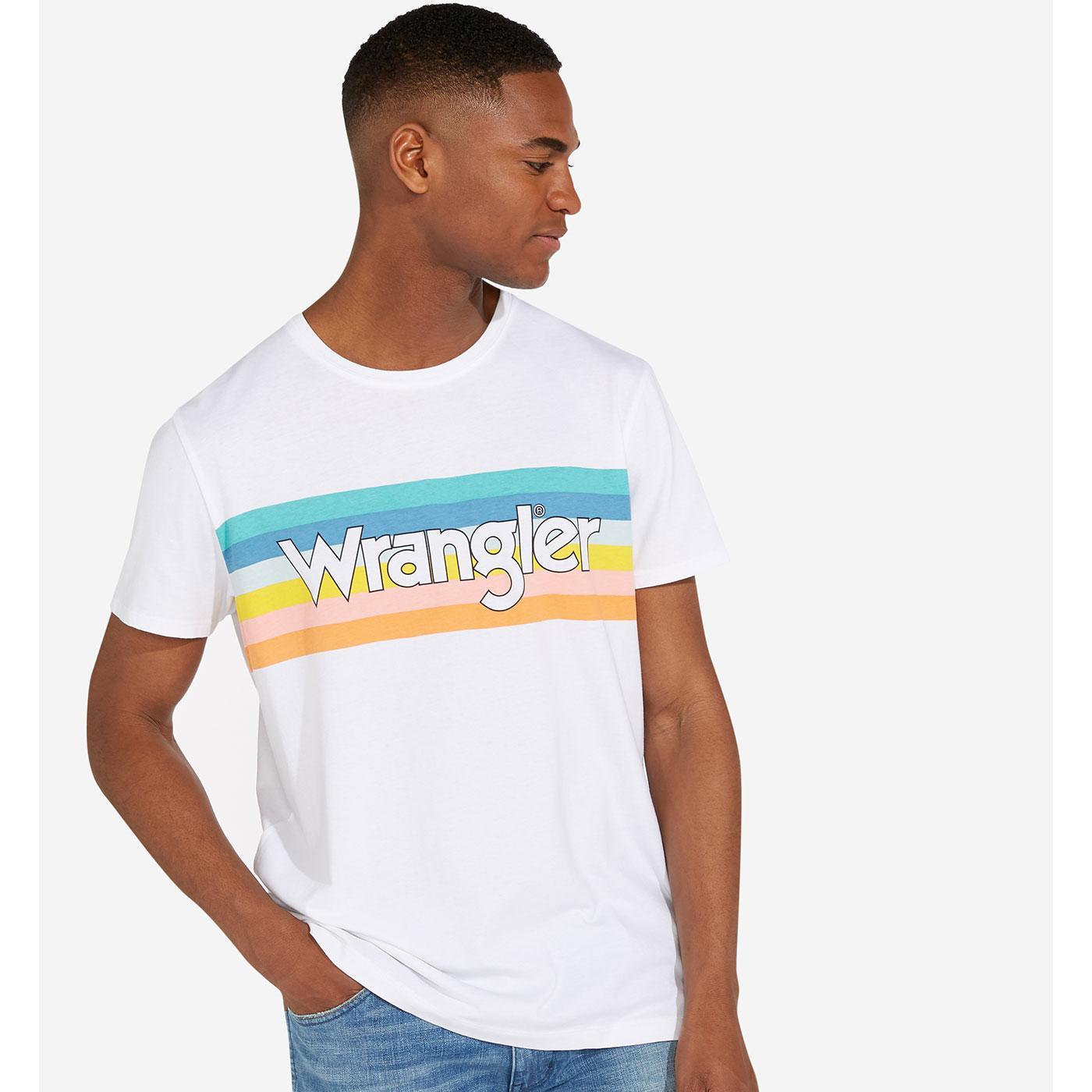 WRANGLER Retro Rainbow Stripe Summer Logo T-Shirt