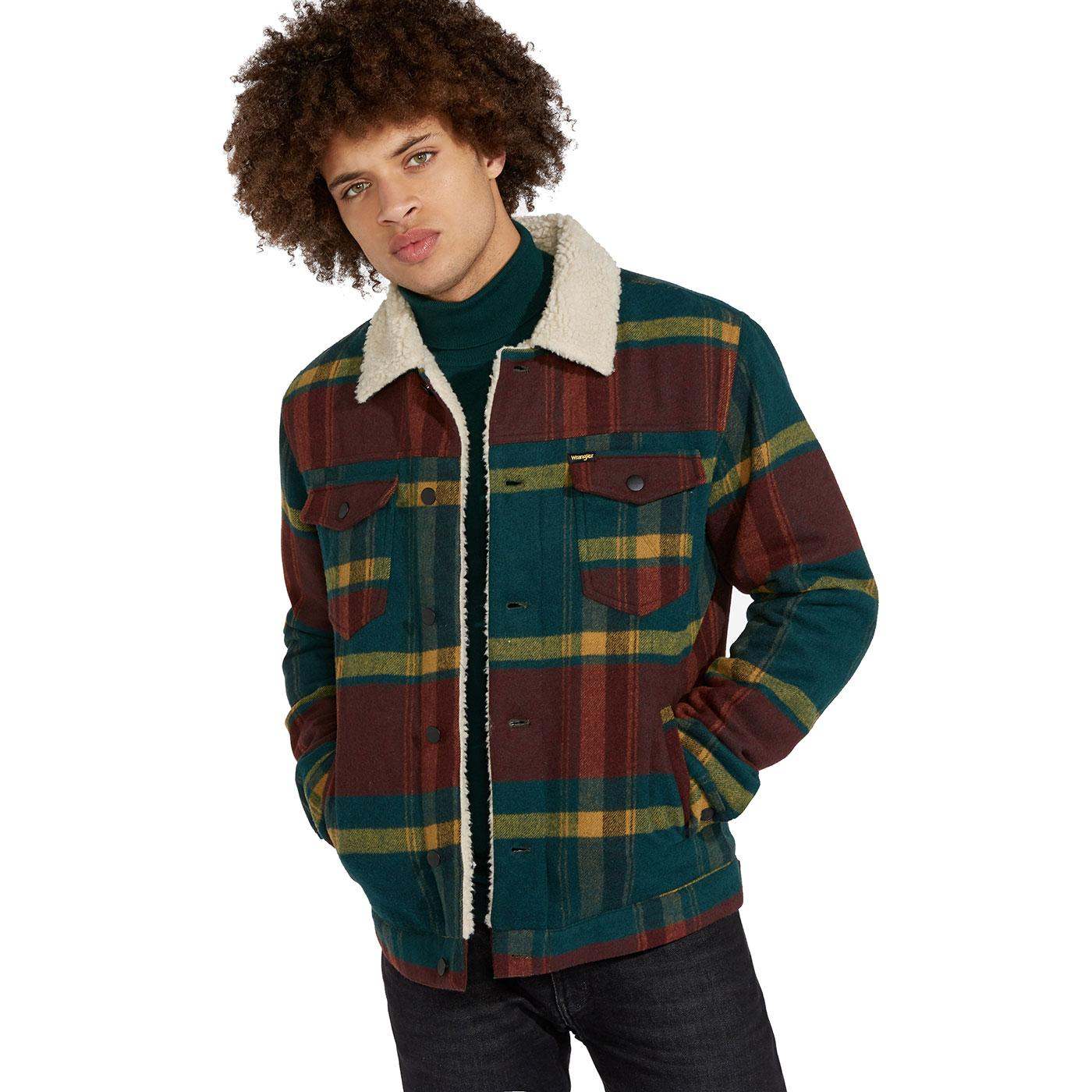 WRANGLER Men's Retro Check Wool Sherpa Jacket PINE