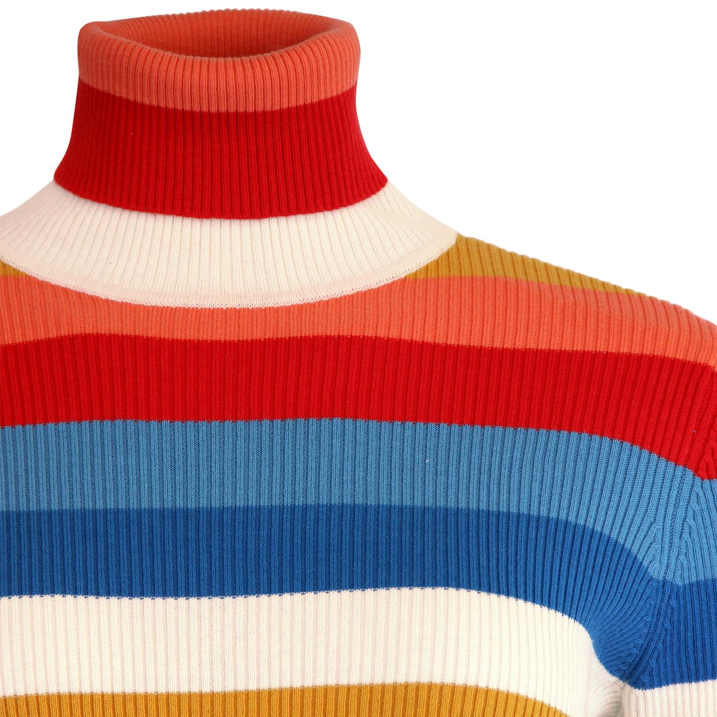 8192c3e0497 WRANGLER Women s Retro 70s Striped Roll Neck Jumper