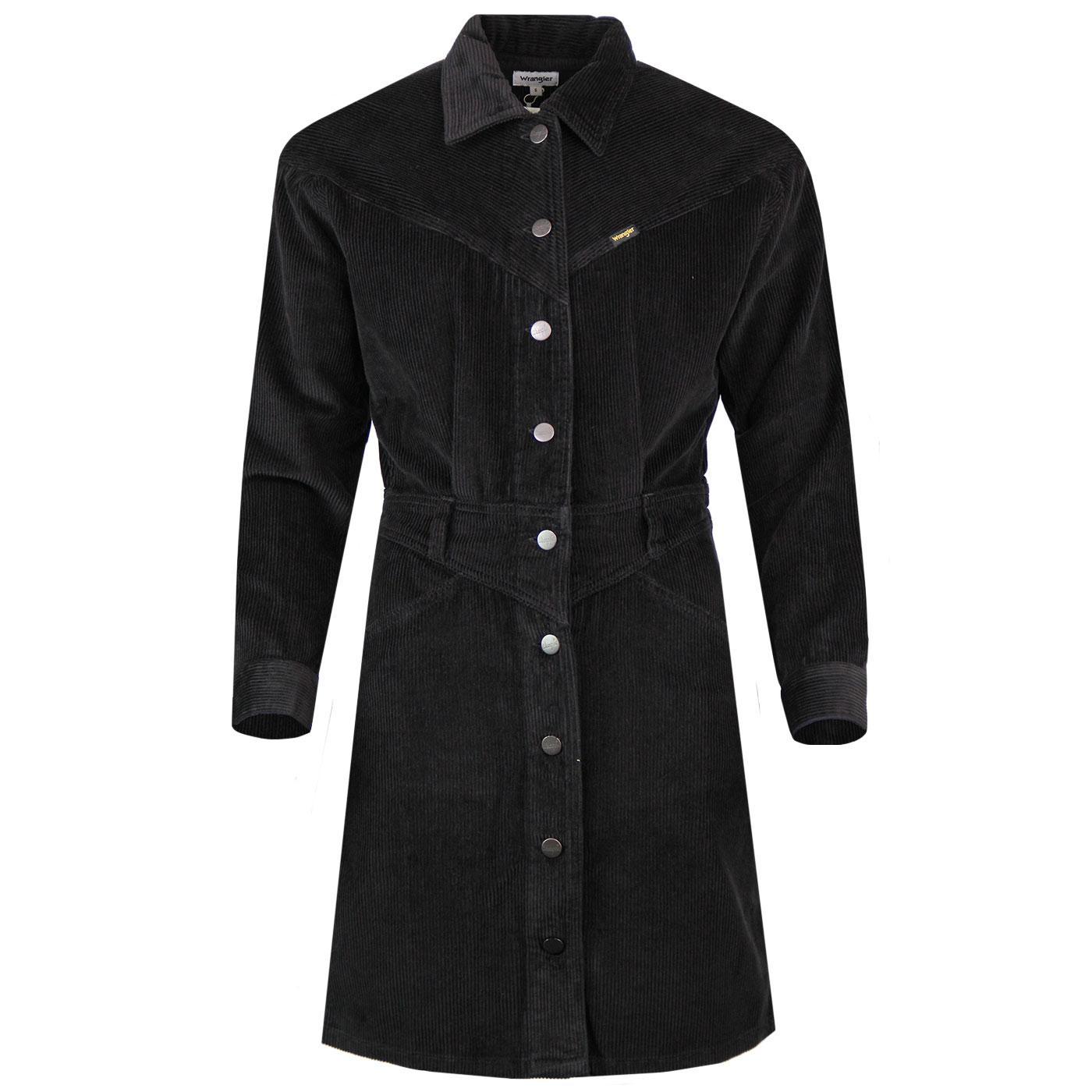 WRANGLER Retro 70s Western Jumbo Cord Dress BLACK