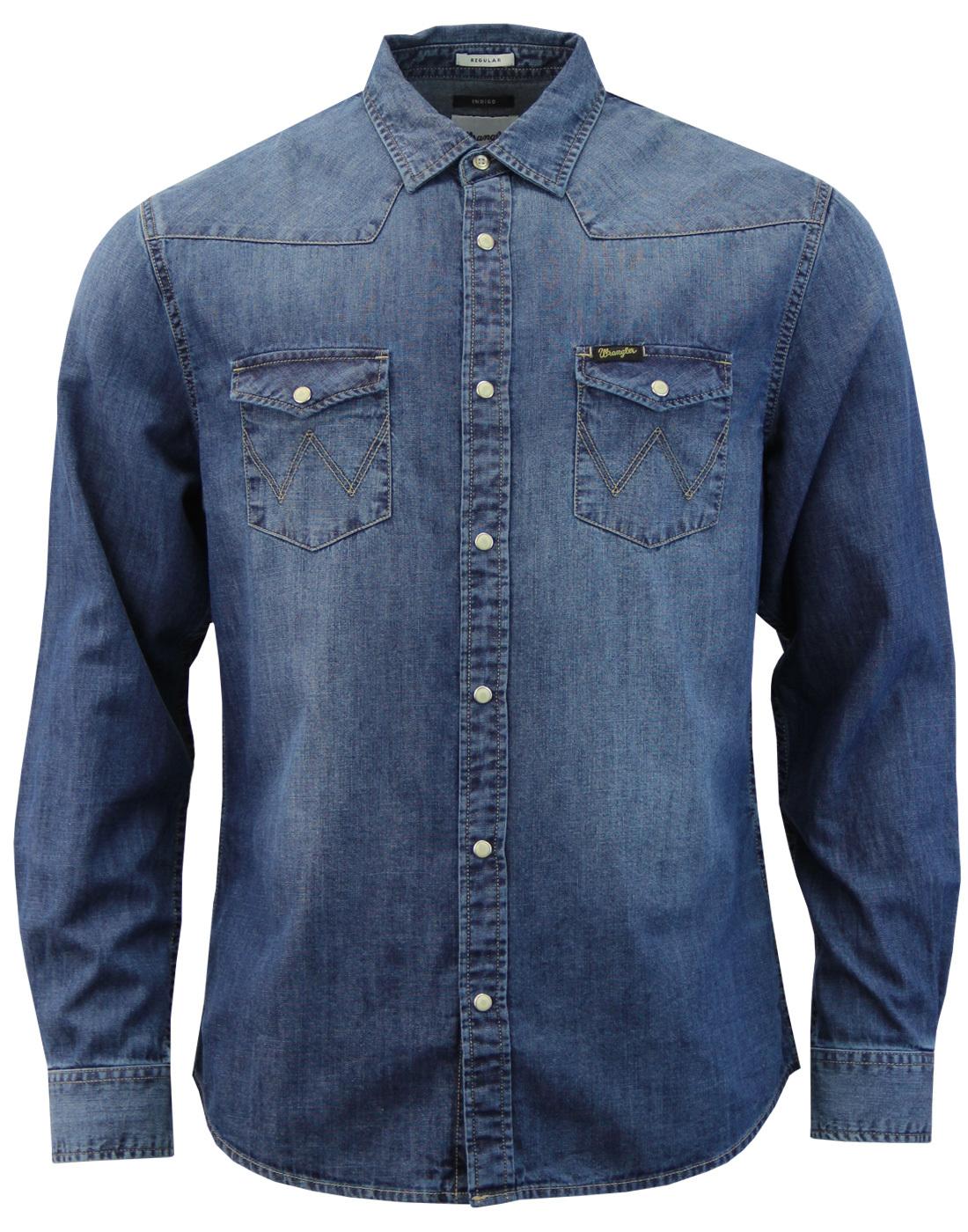 1f68ee8109 WRANGLER Men s Retro 70s Mod Mid Indigo Denim Western Shirt