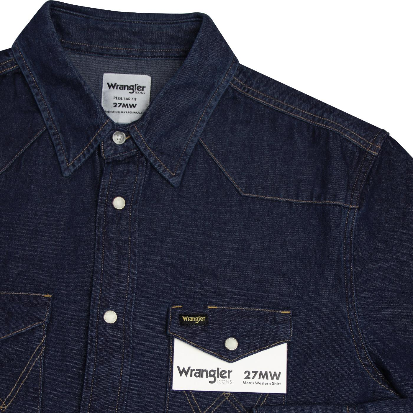 9522aa98d6 WRANGLER 27MW Retro Men's Western Shirt in Indigo Denim