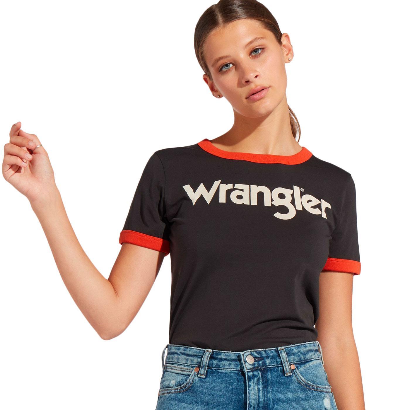 WRANGLER Women's Retro 1970s Logo Ringer Tee (FB)