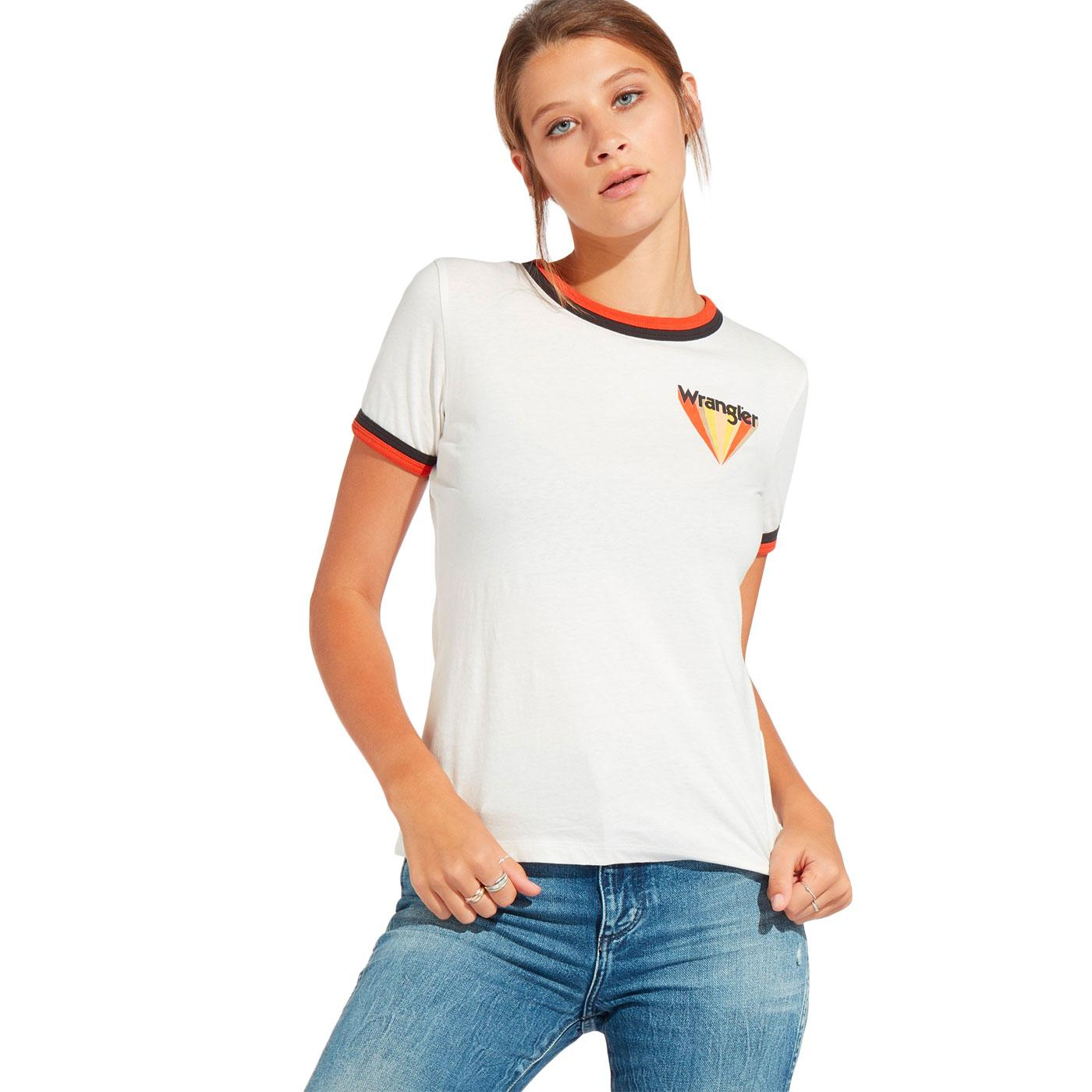 WRANGLER Women's Retro Sunburst Logo Ringer Tee