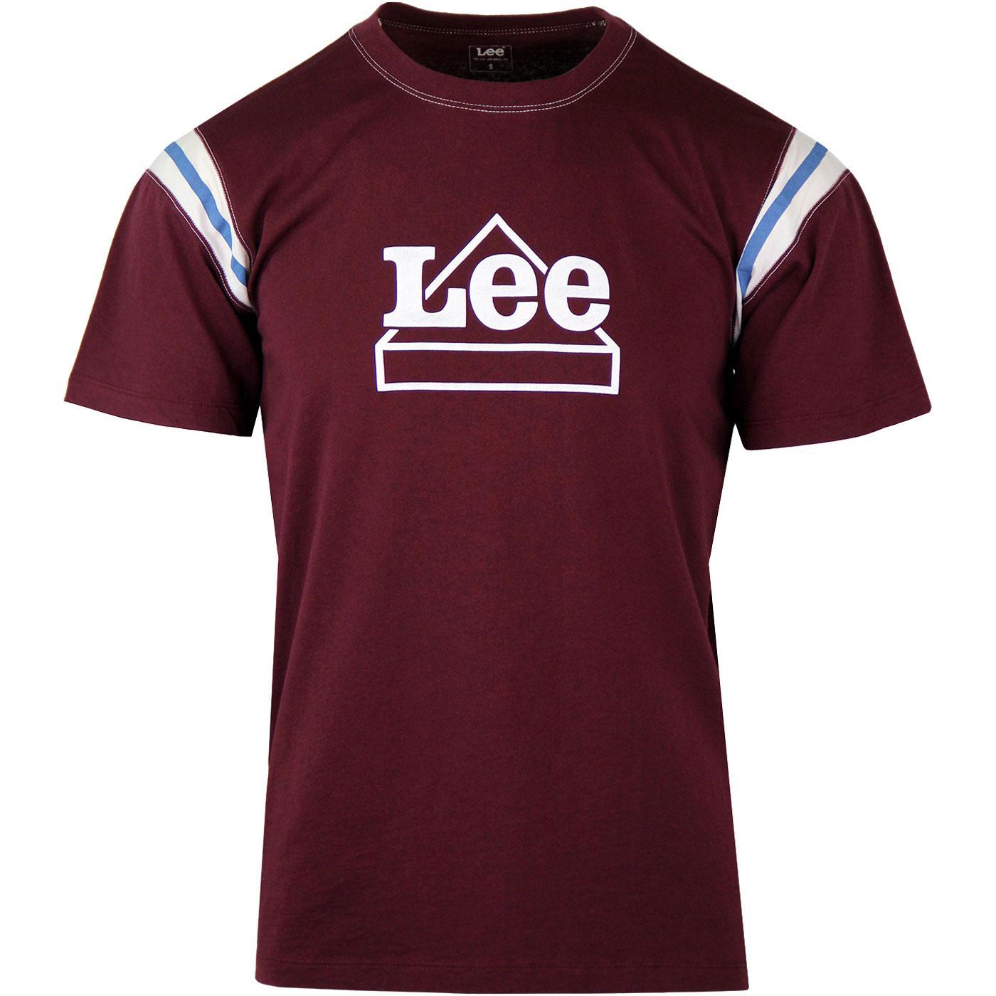 LEE Mens Worker Logo Varsity Stripe T-shirt MAROON