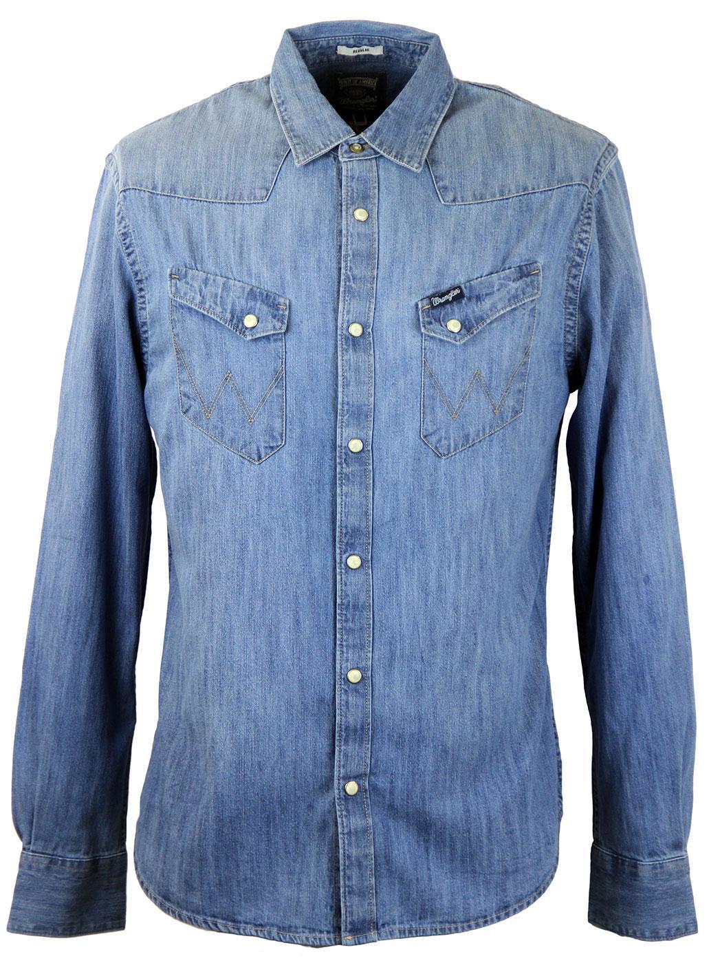 b0f53f11ba WRANGLER Retro 70s Indie L S Denim Western Shirt in Light Indigo