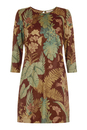 Traffic People Retro 60s Shift Dress Brown Leaf