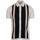 Ben sherman button through mod polo ecru pink