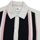 BEN SHERMAN 60s Mod Button Through Knit Polo ECRU