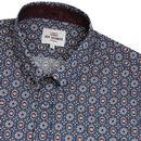 BEN SHERMAN Foulard Geo Floral Print Shirt NAVY